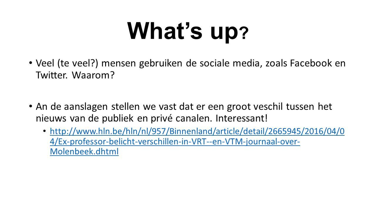 What's up . Veel (te veel ) mensen gebruiken de sociale media, zoals Facebook en Twitter.