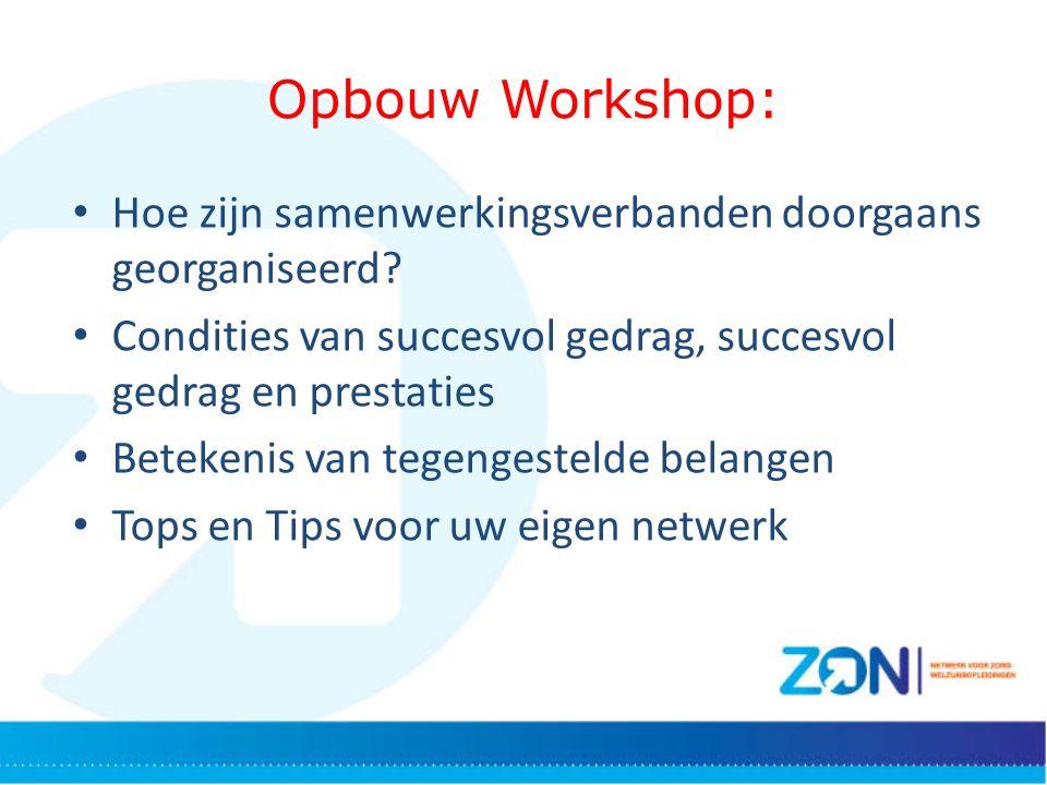 Opbouw Workshop: Hoe zijn samenwerkingsverbanden doorgaans georganiseerd.