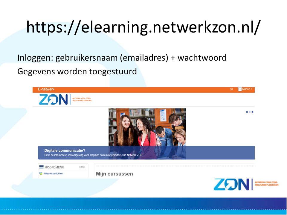 https://elearning.netwerkzon.nl/ Inloggen: gebruikersnaam (emailadres) + wachtwoord Gegevens worden toegestuurd