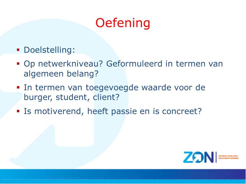 Oefening  Doelstelling:  Op netwerkniveau. Geformuleerd in termen van algemeen belang.