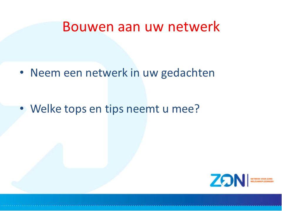 Bouwen aan uw netwerk Neem een netwerk in uw gedachten Welke tops en tips neemt u mee?