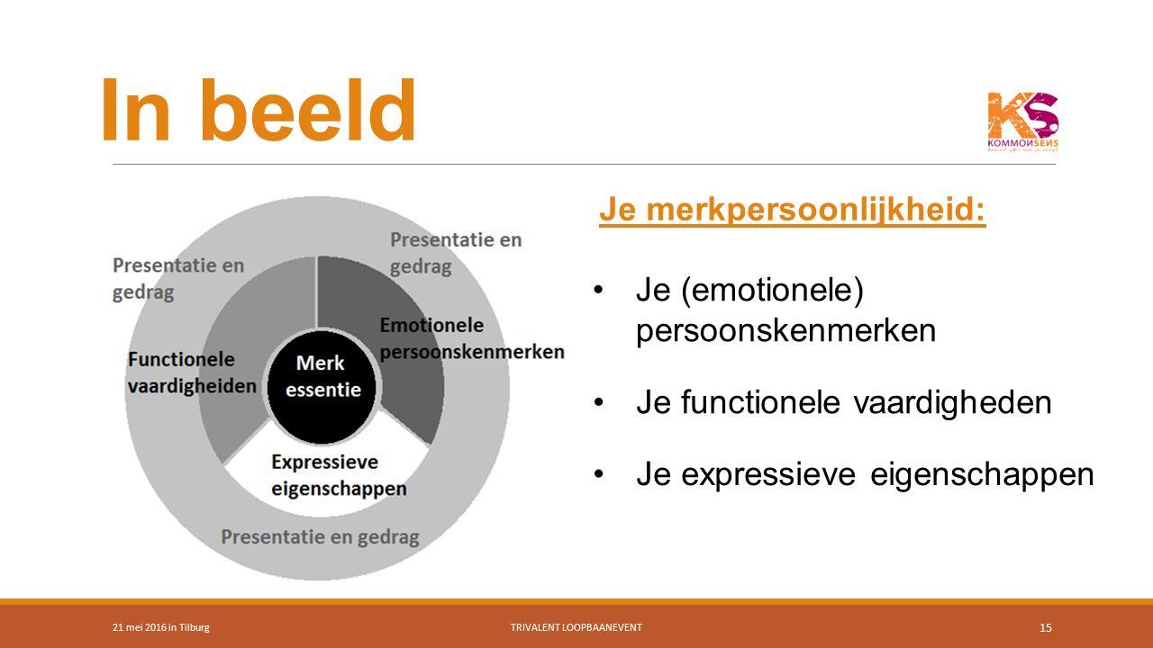 In beeld 21 mei 2016 in TilburgTRIVALENT LOOPBAANEVENT 15 Je merkpersoonlijkheid: Je (emotionele) persoonskenmerken Je functionele vaardigheden Je exp