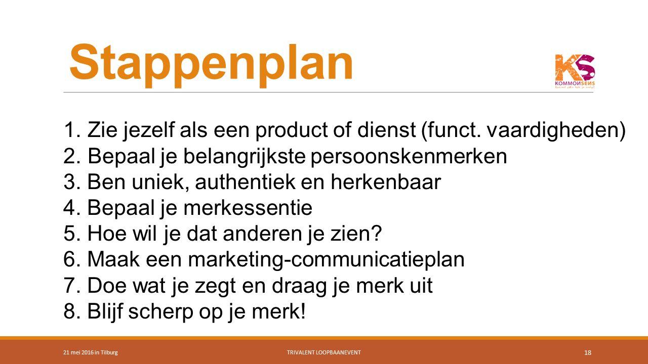 Stappenplan 21 mei 2016 in TilburgTRIVALENT LOOPBAANEVENT 18 1.Zie jezelf als een product of dienst (funct. vaardigheden) 2.Bepaal je belangrijkste pe