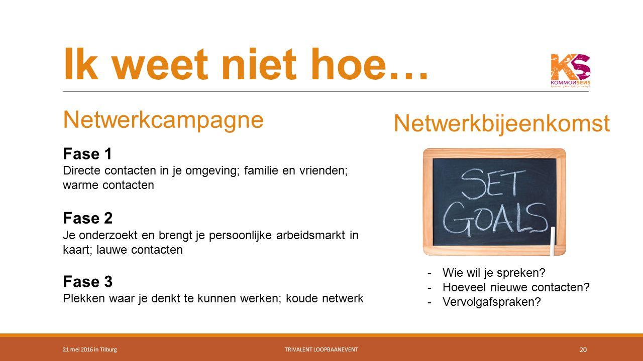 Ik weet niet hoe… 21 mei 2016 in TilburgTRIVALENT LOOPBAANEVENT 20 Netwerkcampagne Fase 1 Directe contacten in je omgeving; familie en vrienden; warme