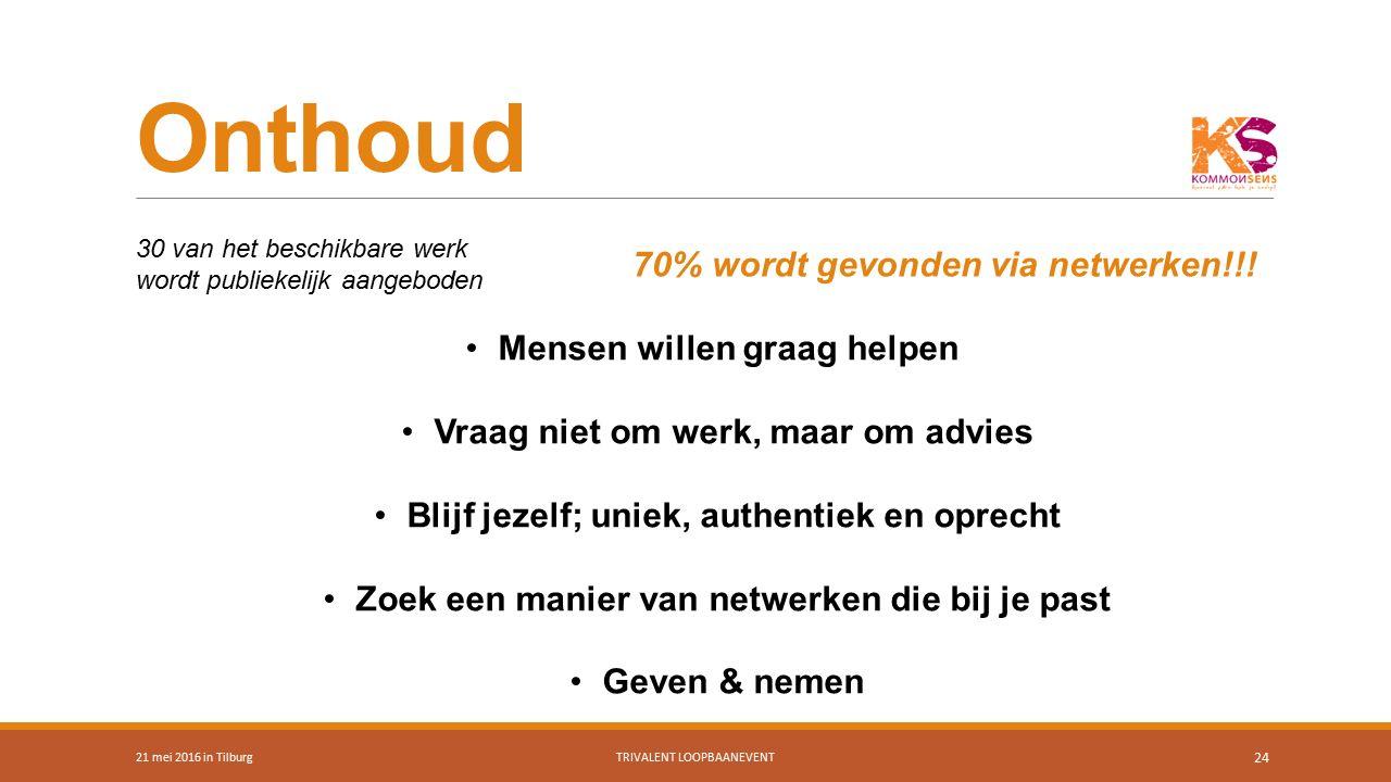 Onthoud 21 mei 2016 in TilburgTRIVALENT LOOPBAANEVENT 24 Mensen willen graag helpen Vraag niet om werk, maar om advies Blijf jezelf; uniek, authentiek