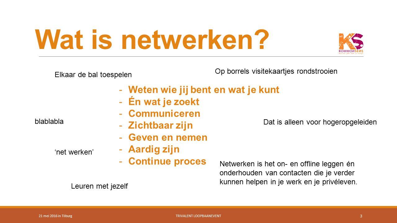 Onthoud 21 mei 2016 in TilburgTRIVALENT LOOPBAANEVENT 24 Mensen willen graag helpen Vraag niet om werk, maar om advies Blijf jezelf; uniek, authentiek en oprecht Zoek een manier van netwerken die bij je past Geven & nemen 30 van het beschikbare werk wordt publiekelijk aangeboden 70% wordt gevonden via netwerken!!!