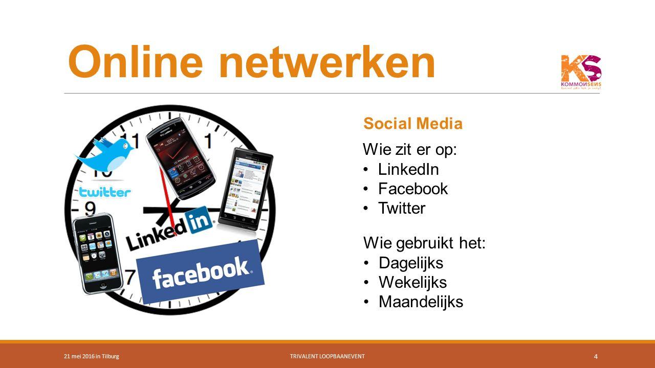 Online netwerken 21 mei 2016 in TilburgTRIVALENT LOOPBAANEVENT 4 Wie zit er op: LinkedIn Facebook Twitter Wie gebruikt het: Dagelijks Wekelijks Maande