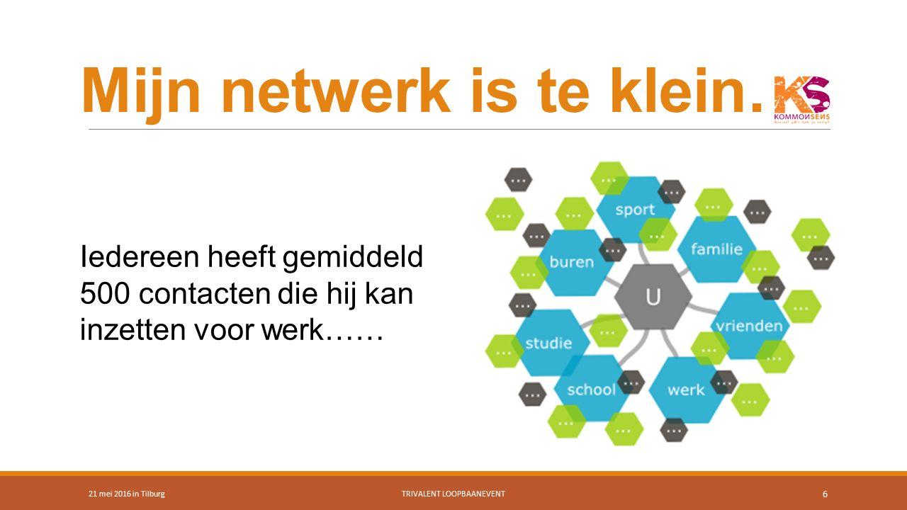 Mijn netwerk is te klein… 21 mei 2016 in TilburgTRIVALENT LOOPBAANEVENT 6 Iedereen heeft gemiddeld 500 contacten die hij kan inzetten voor werk……