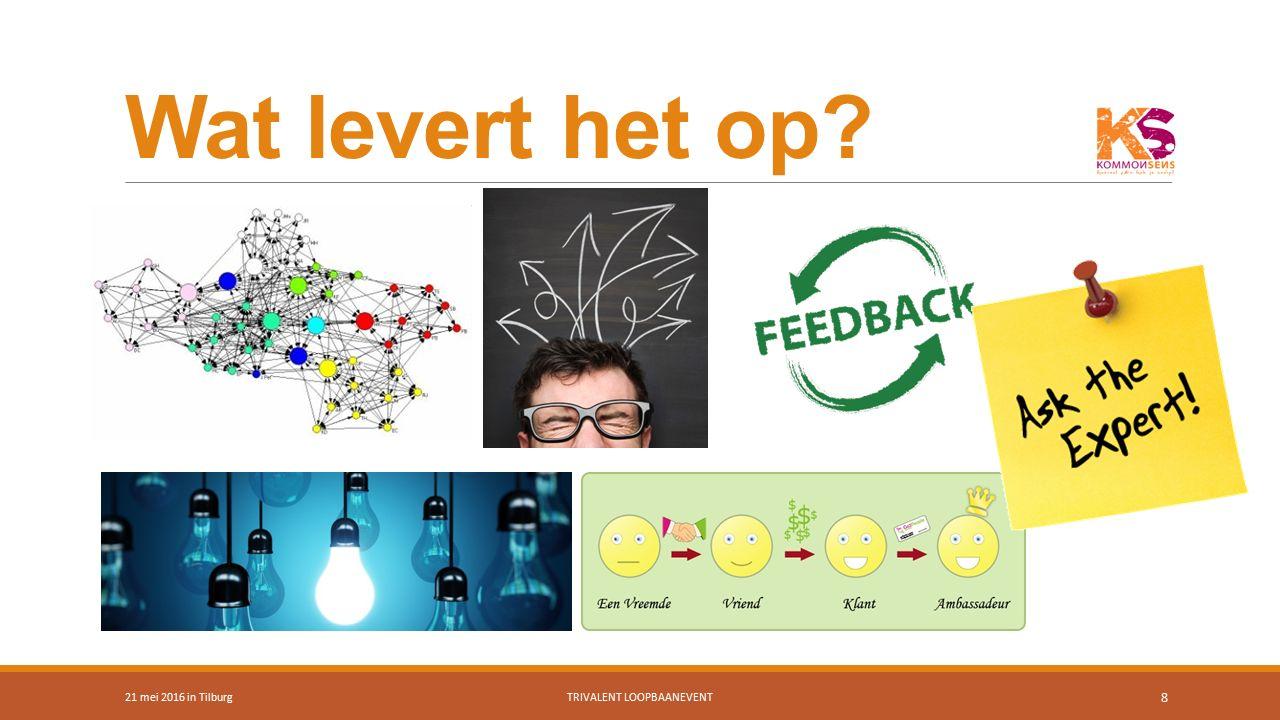 Succesfactoren 21 mei 2016 in TilburgTRIVALENT LOOPBAANEVENT 9 Weet waar je goed in bent Heb een duidelijk doel Bouw stap voor stap Ontwikkel een contactenlijst Laat jezelf zien/horen, ben de expert Wees aardig voor je netwerk Maar… het begint met weten: wie ben je, waar ben jij goed in en wat zoek je?