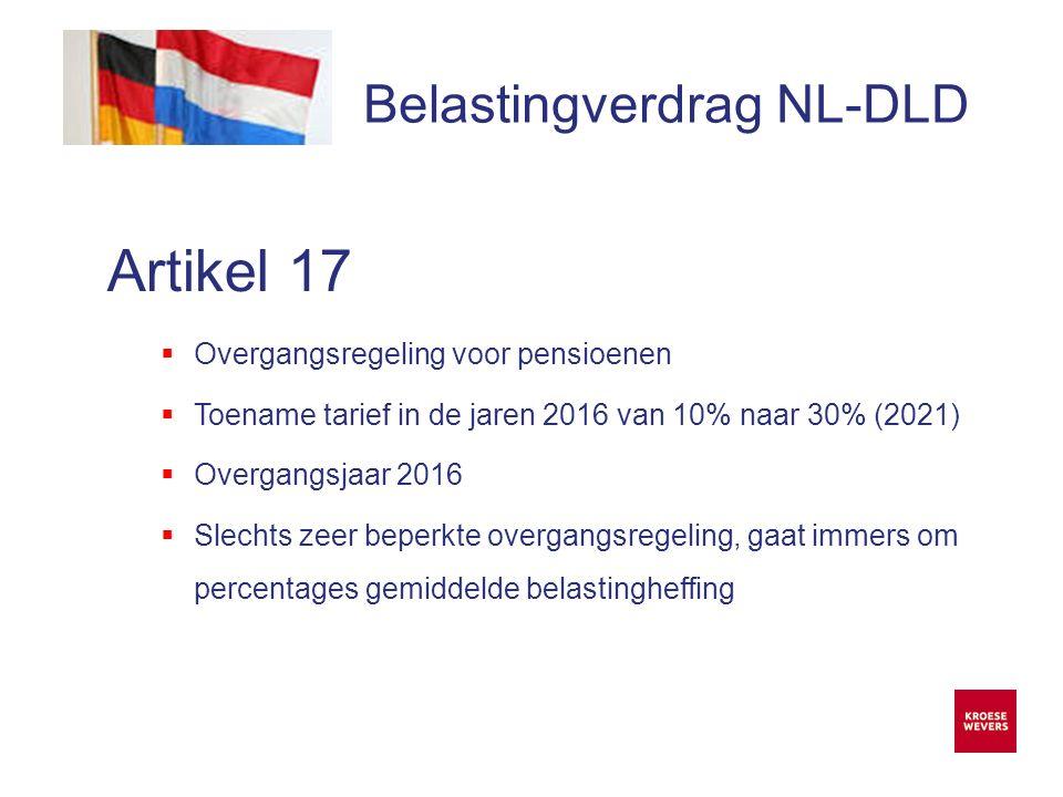 Onze ambitie is accountancy en belastingadvies menselijker en flexibeler te maken Belastingverdrag NL-DLD Artikel 17  Overgangsregeling voor pensioenen  Toename tarief in de jaren 2016 van 10% naar 30% (2021)  Overgangsjaar 2016  Slechts zeer beperkte overgangsregeling, gaat immers om percentages gemiddelde belastingheffing