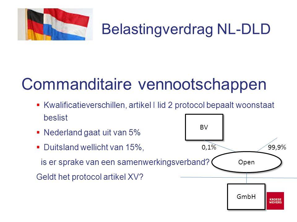 Onze ambitie is accountancy en belastingadvies menselijker en flexibeler te maken Belastingverdrag NL-DLD Commanditaire vennootschappen  Kwalificatieverschillen, artikel I lid 2 protocol bepaalt woonstaat beslist  Nederland gaat uit van 5%  Duitsland wellicht van 15%, is er sprake van een samenwerkingsverband.