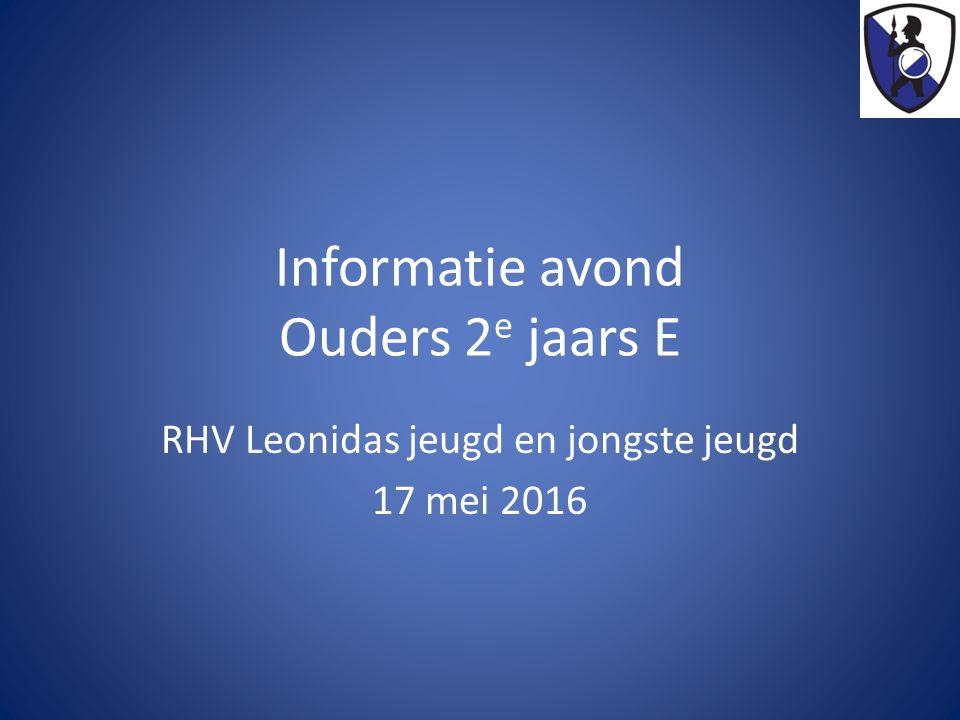 Informatie avond Ouders 2 e jaars E RHV Leonidas jeugd en jongste jeugd 17 mei 2016