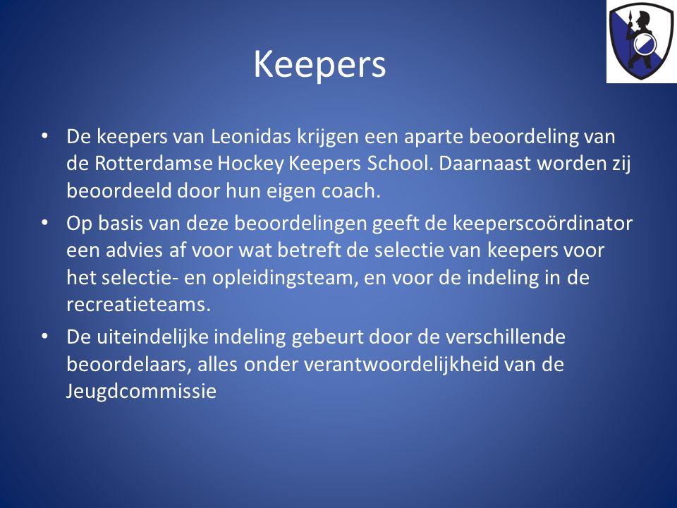 Keepers De keepers van Leonidas krijgen een aparte beoordeling van de Rotterdamse Hockey Keepers School.