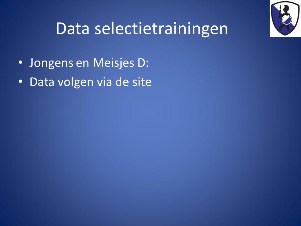 Data selectietrainingen Jongens en Meisjes D: Data volgen via de site
