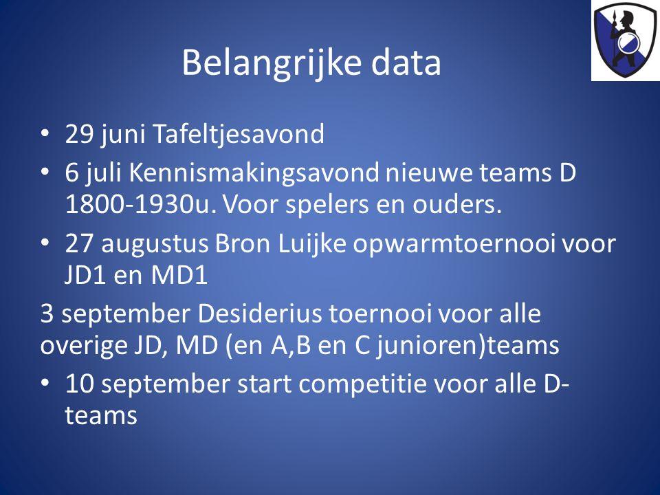 Belangrijke data 29 juni Tafeltjesavond 6 juli Kennismakingsavond nieuwe teams D 1800-1930u.