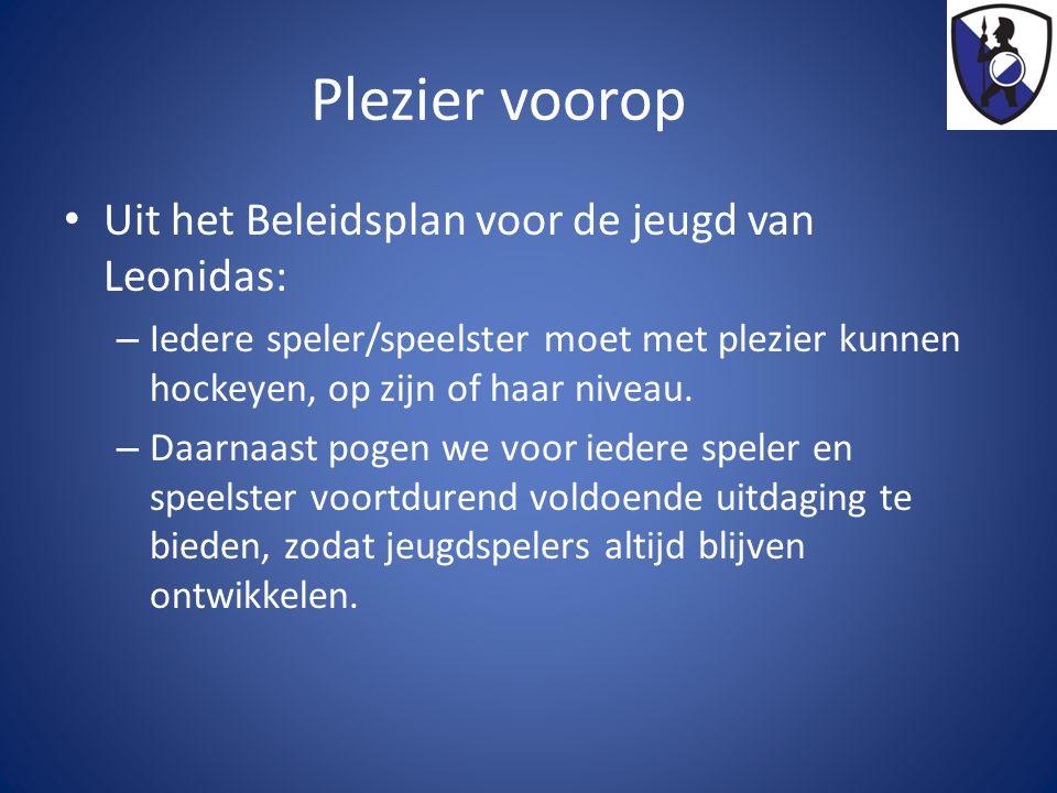 Plezier voorop Uit het Beleidsplan voor de jeugd van Leonidas: – Iedere speler/speelster moet met plezier kunnen hockeyen, op zijn of haar niveau.