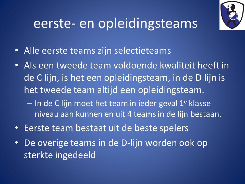 Eerste team en opleidingsteam Eerste team:  vrijwillige keuze.