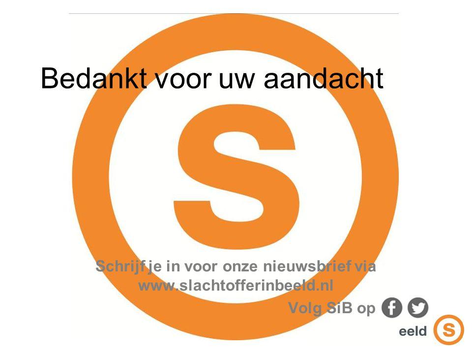 Bedankt voor uw aandacht Schrijf je in voor onze nieuwsbrief via www.slachtofferinbeeld.nl Volg SiB op