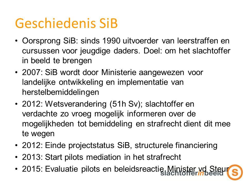 Geschiedenis SiB Oorsprong SiB: sinds 1990 uitvoerder van leerstraffen en cursussen voor jeugdige daders.