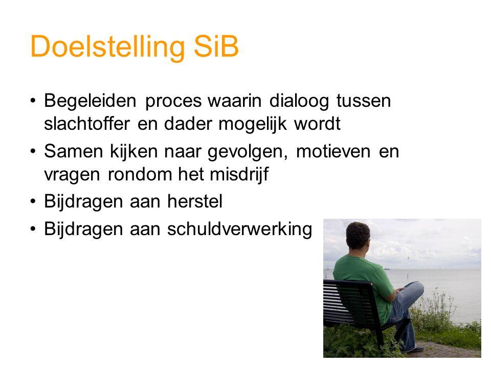 Doelstelling SiB Begeleiden proces waarin dialoog tussen slachtoffer en dader mogelijk wordt Samen kijken naar gevolgen, motieven en vragen rondom het misdrijf Bijdragen aan herstel Bijdragen aan schuldverwerking