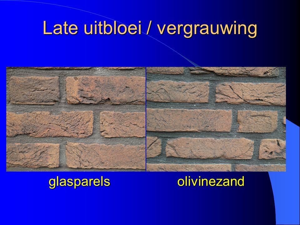 Late uitbloei / vergrauwing glasparelsolivinezand