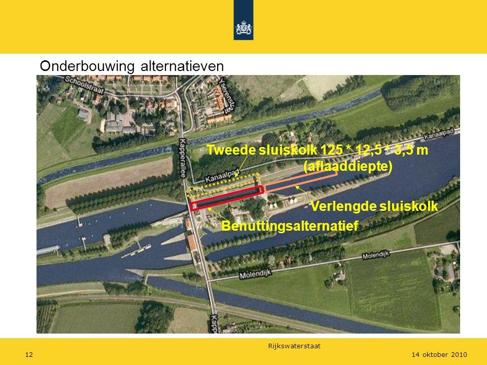 Rijkswaterstaat 1214 oktober 2010 Onderbouwing alternatieven Benuttingsalternatief Verlengde sluiskolk Tweede sluiskolk 125 * 12,5 * 3,5 m (aflaaddiepte)