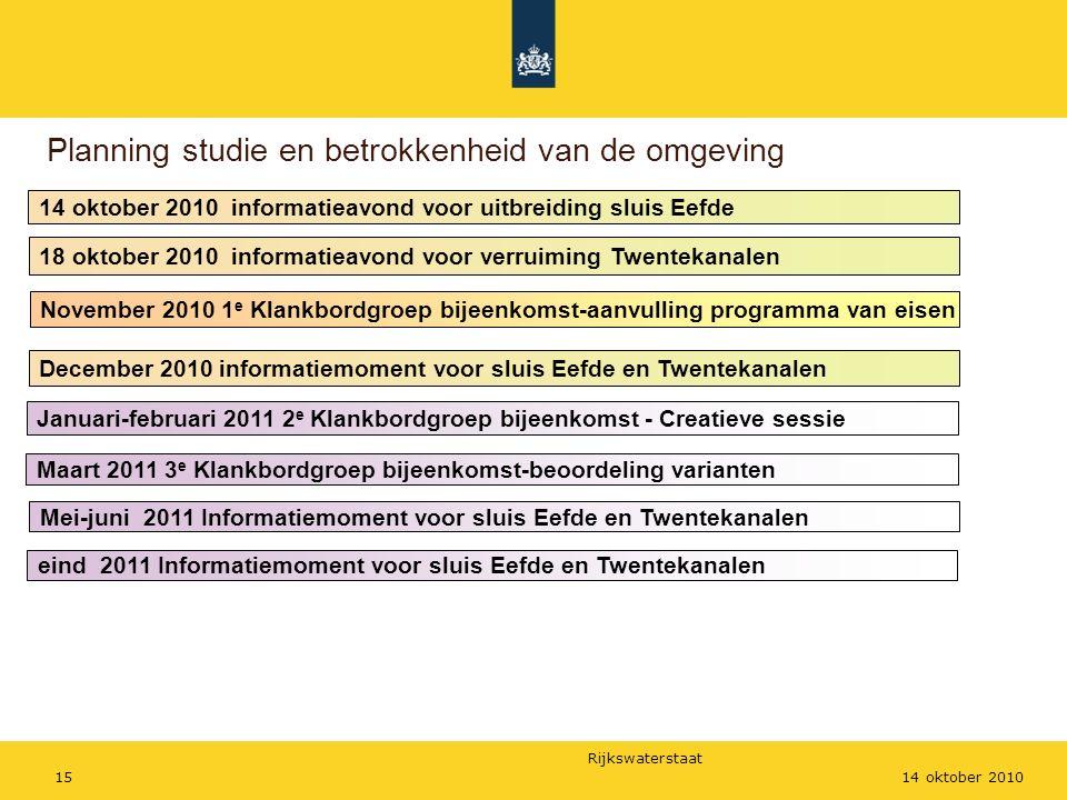 Rijkswaterstaat 1514 oktober 2010 Planning studie en betrokkenheid van de omgeving 14 oktober 2010 informatieavond voor uitbreiding sluis Eefde Novemb