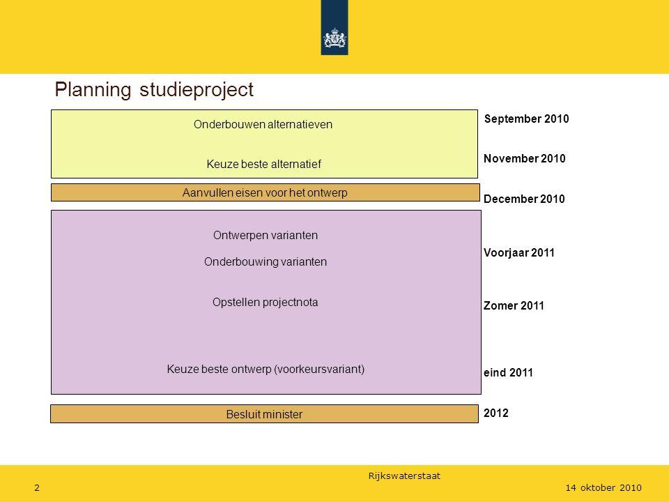 Rijkswaterstaat 214 oktober 2010 Planning studieproject Onderbouwen alternatieven Keuze beste alternatief Aanvullen eisen voor het ontwerp Ontwerpen v