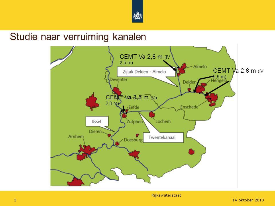 Rijkswaterstaat 314 oktober 2010 Studie naar verruiming kanalen CEMT Va 3,5 m (Va 2,8 m) CEMT Va 2,8 m (IV 2,6 m) CEMT Va 2,8 m (IV 2,5 m)