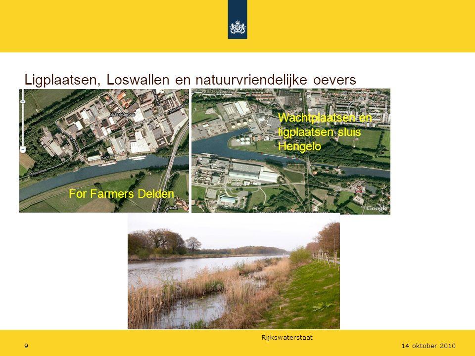Rijkswaterstaat 914 oktober 2010 Ligplaatsen, Loswallen en natuurvriendelijke oevers For Farmers Delden Wachtplaatsen en ligplaatsen sluis Hengelo