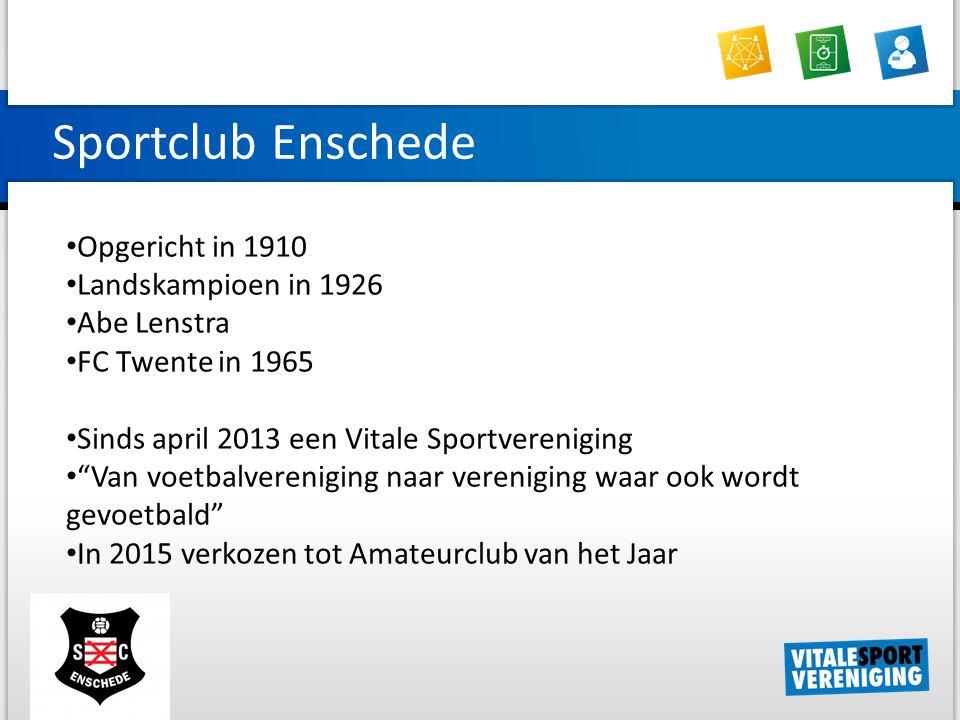 Sportclub Enschede Opgericht in 1910 Landskampioen in 1926 Abe Lenstra FC Twente in 1965 Sinds april 2013 een Vitale Sportvereniging Van voetbalvereniging naar vereniging waar ook wordt gevoetbald In 2015 verkozen tot Amateurclub van het Jaar