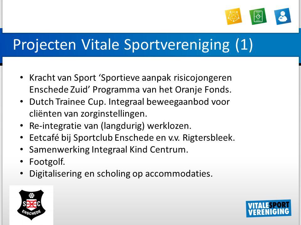 Projecten Vitale Sportvereniging (1) Kracht van Sport 'Sportieve aanpak risicojongeren Enschede Zuid' Programma van het Oranje Fonds.