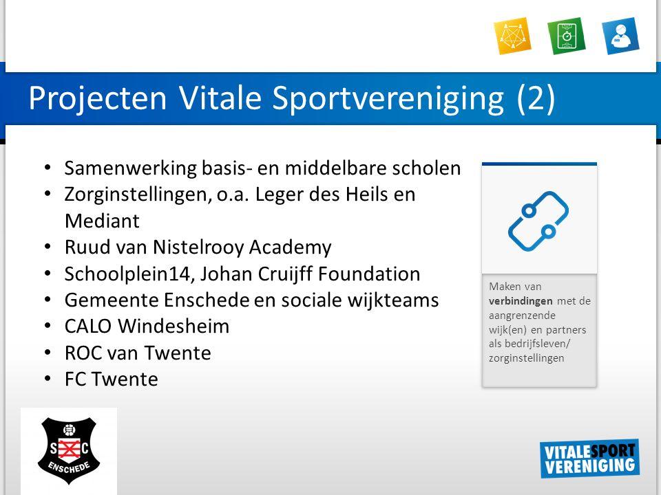 Projecten Vitale Sportvereniging (2) Maken van verbindingen met de aangrenzende wijk(en) en partners als bedrijfsleven/ zorginstellingen Samenwerking basis- en middelbare scholen Zorginstellingen, o.a.