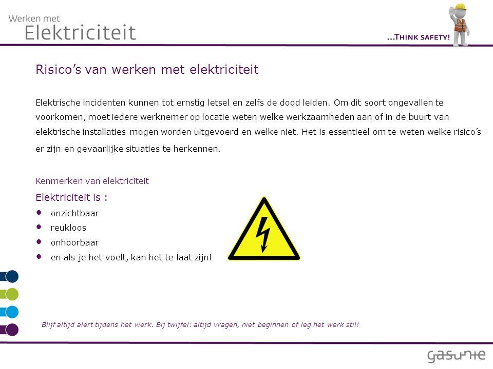 Risico's van werken met elektriciteit Elektrische incidenten kunnen tot ernstig letsel en zelfs de dood leiden.
