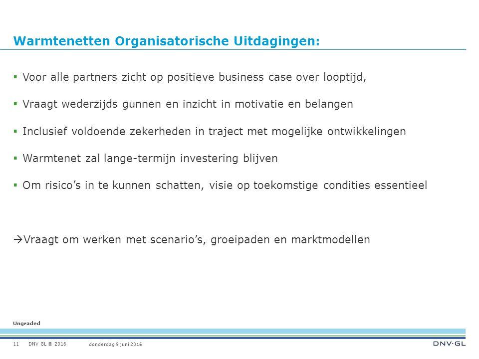 Ungraded donderdag 9 juni 2016 DNV GL © 2016 Warmtenetten Organisatorische Uitdagingen:  Voor alle partners zicht op positieve business case over loo