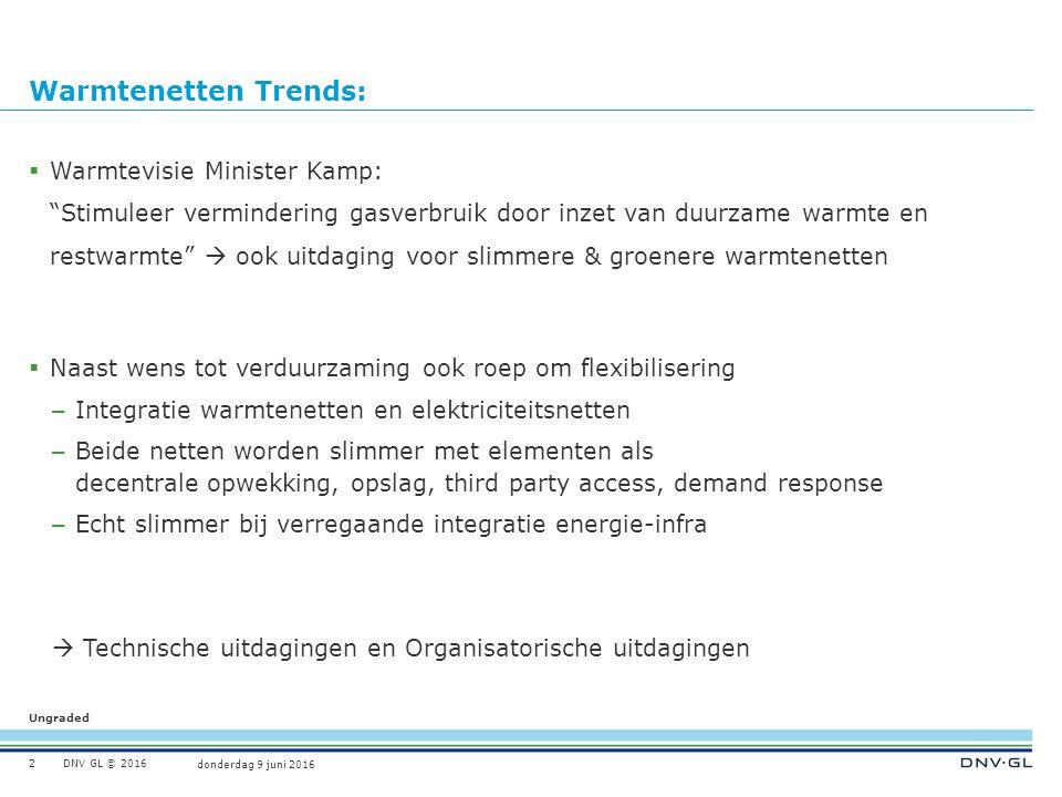 """Ungraded donderdag 9 juni 2016 DNV GL © 2016 Warmtenetten Trends:  Warmtevisie Minister Kamp: """"Stimuleer vermindering gasverbruik door inzet van duur"""