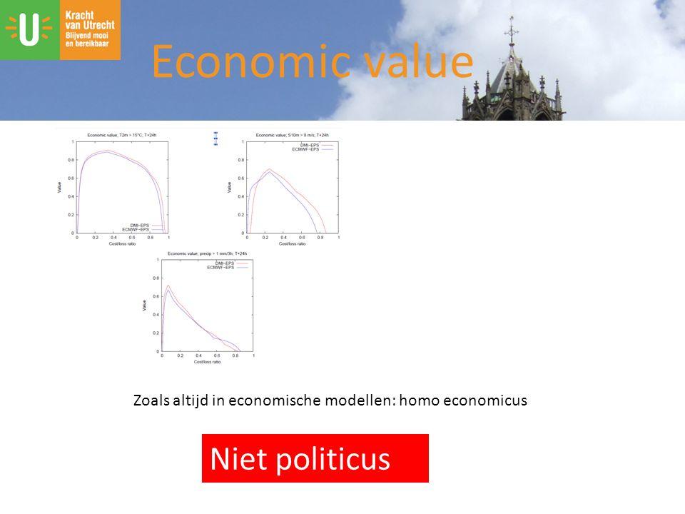Zoals altijd in economische modellen: homo economicus Niet politicus