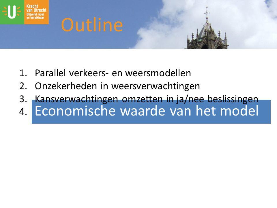 Outline Economische waarde van het model 1.Parallel verkeers- en weersmodellen 2.Onzekerheden in weersverwachtingen 3.Kansverwachtingen omzetten in ja