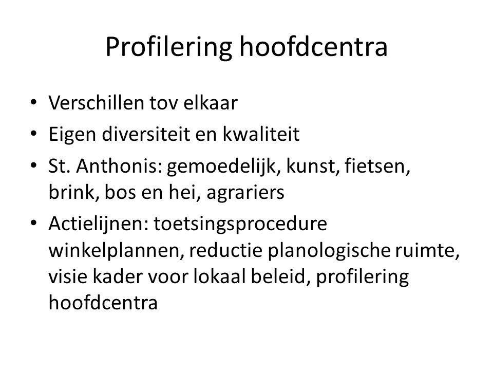 Profilering hoofdcentra Verschillen tov elkaar Eigen diversiteit en kwaliteit St.