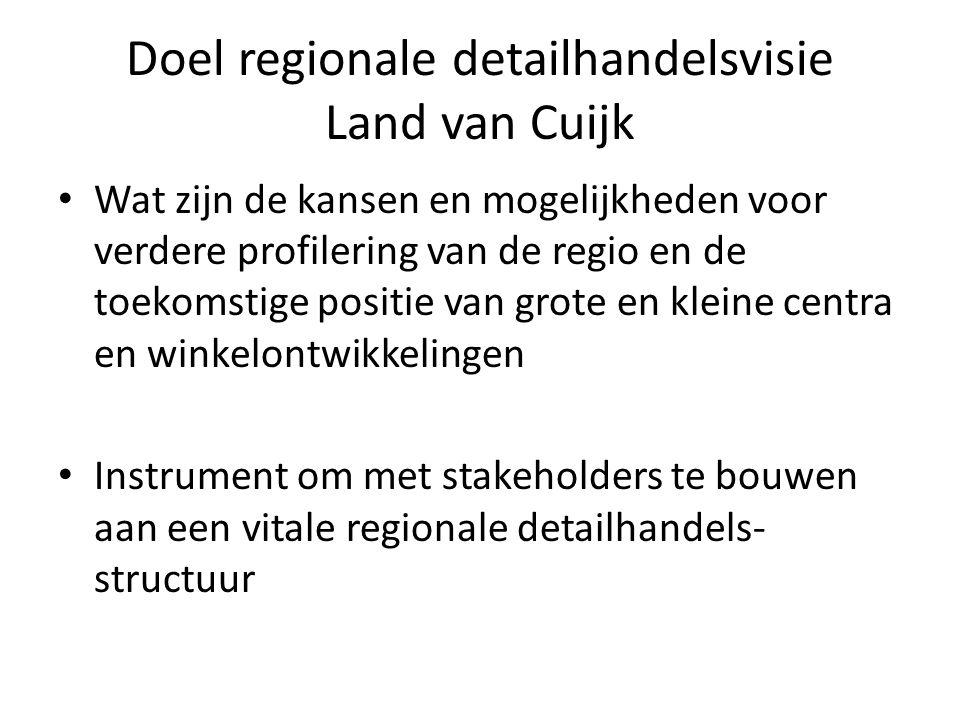 Doel regionale detailhandelsvisie Land van Cuijk Wat zijn de kansen en mogelijkheden voor verdere profilering van de regio en de toekomstige positie van grote en kleine centra en winkelontwikkelingen Instrument om met stakeholders te bouwen aan een vitale regionale detailhandels- structuur