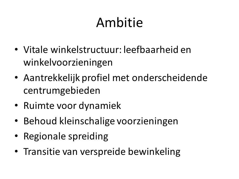 Ambitie Vitale winkelstructuur: leefbaarheid en winkelvoorzieningen Aantrekkelijk profiel met onderscheidende centrumgebieden Ruimte voor dynamiek Behoud kleinschalige voorzieningen Regionale spreiding Transitie van verspreide bewinkeling