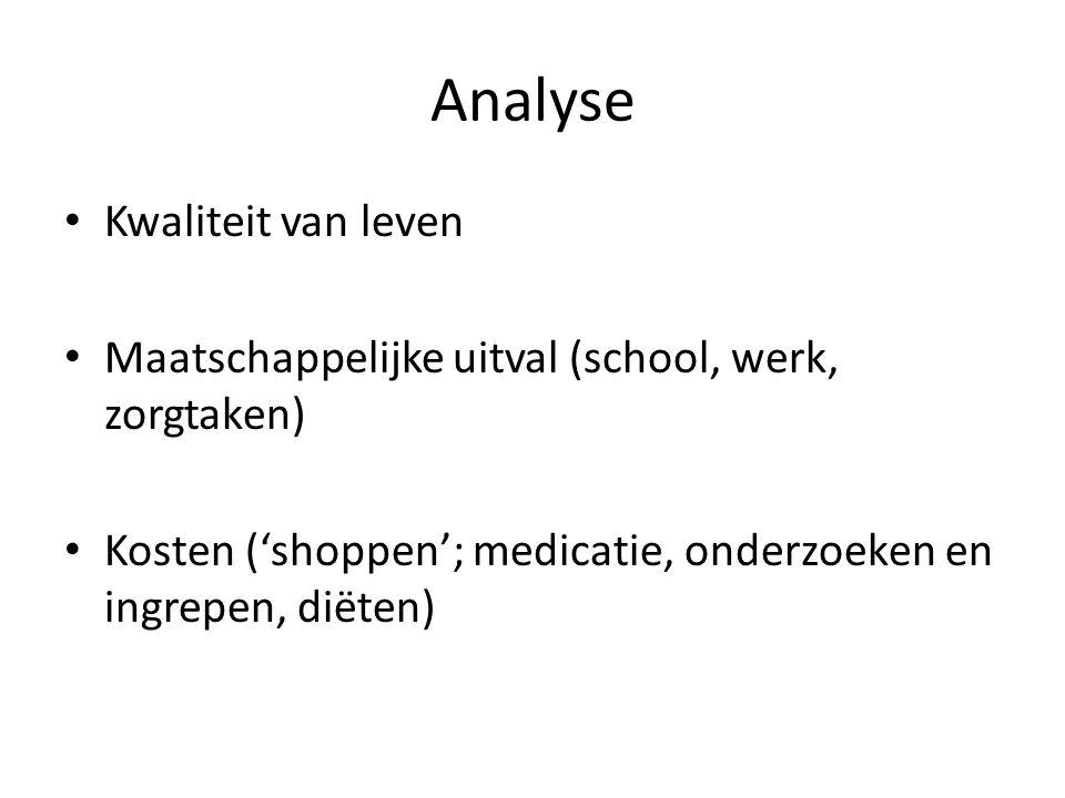 Analyse Kwaliteit van leven Maatschappelijke uitval (school, werk, zorgtaken) Kosten ('shoppen'; medicatie, onderzoeken en ingrepen, diëten)