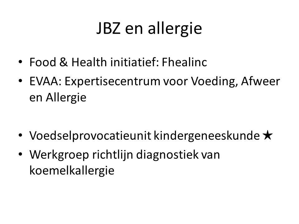JBZ en allergie Food & Health initiatief: Fhealinc EVAA: Expertisecentrum voor Voeding, Afweer en Allergie Voedselprovocatieunit kindergeneeskunde ★ Werkgroep richtlijn diagnostiek van koemelkallergie
