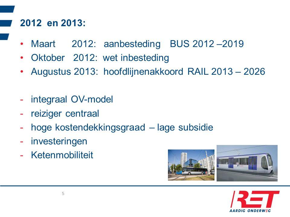 2012 en 2013: Maart 2012: aanbesteding BUS 2012 –2019 Oktober 2012: wet inbesteding Augustus 2013: hoofdlijnenakkoord RAIL 2013 – 2026 -integraal OV-model -reiziger centraal -hoge kostendekkingsgraad – lage subsidie -investeringen -Ketenmobiliteit 5
