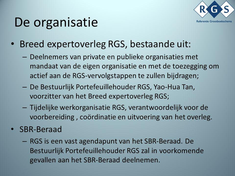 De organisatie Breed expertoverleg RGS, bestaande uit: – Deelnemers van private en publieke organisaties met mandaat van de eigen organisatie en met de toezegging om actief aan de RGS-vervolgstappen te zullen bijdragen; – De Bestuurlijk Portefeuillehouder RGS, Yao-Hua Tan, voorzitter van het Breed expertoverleg RGS; – Tijdelijke werkorganisatie RGS, verantwoordelijk voor de voorbereiding, coördinatie en uitvoering van het overleg.