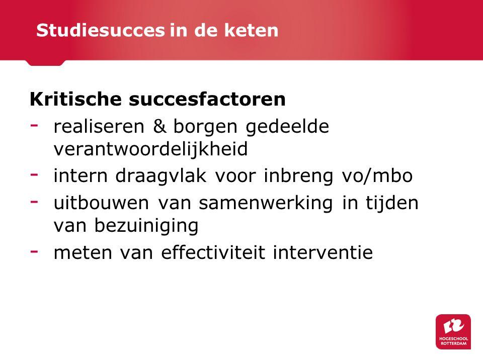 Studiesucces in de keten Kritische succesfactoren - realiseren & borgen gedeelde verantwoordelijkheid - intern draagvlak voor inbreng vo/mbo - uitbouwen van samenwerking in tijden van bezuiniging - meten van effectiviteit interventie