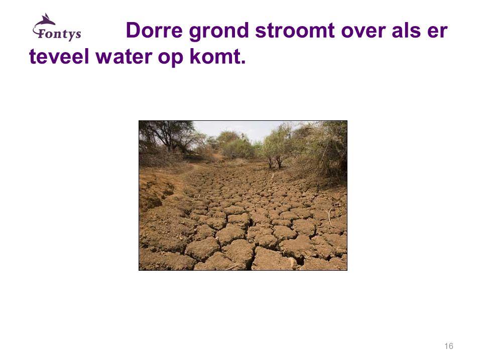 Dorre grond stroomt over als er teveel water op komt. 16
