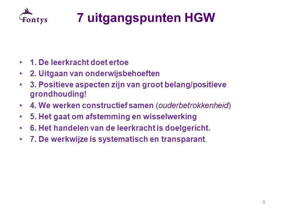 7 uitgangspunten HGW 1. De leerkracht doet ertoe 2. Uitgaan van onderwijsbehoeften 3. Positieve aspecten zijn van groot belang/positieve grondhouding!