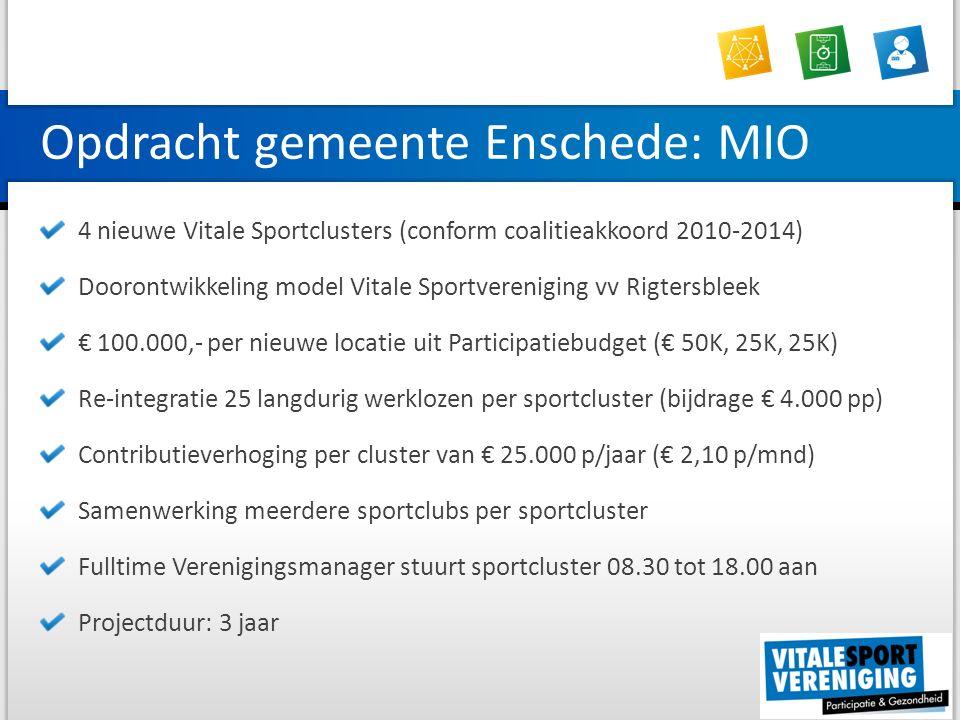 Opdracht gemeente Enschede: MIO 4 nieuwe Vitale Sportclusters (conform coalitieakkoord 2010-2014) Doorontwikkeling model Vitale Sportvereniging vv Rigtersbleek € 100.000,- per nieuwe locatie uit Participatiebudget (€ 50K, 25K, 25K) Re-integratie 25 langdurig werklozen per sportcluster (bijdrage € 4.000 pp) Contributieverhoging per cluster van € 25.000 p/jaar (€ 2,10 p/mnd) Samenwerking meerdere sportclubs per sportcluster Fulltime Verenigingsmanager stuurt sportcluster 08.30 tot 18.00 aan Projectduur: 3 jaar