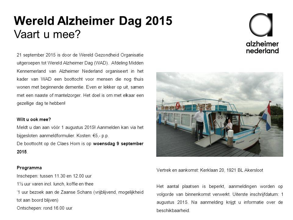 Wereld Alzheimer Dag 2015 Vaart u mee.